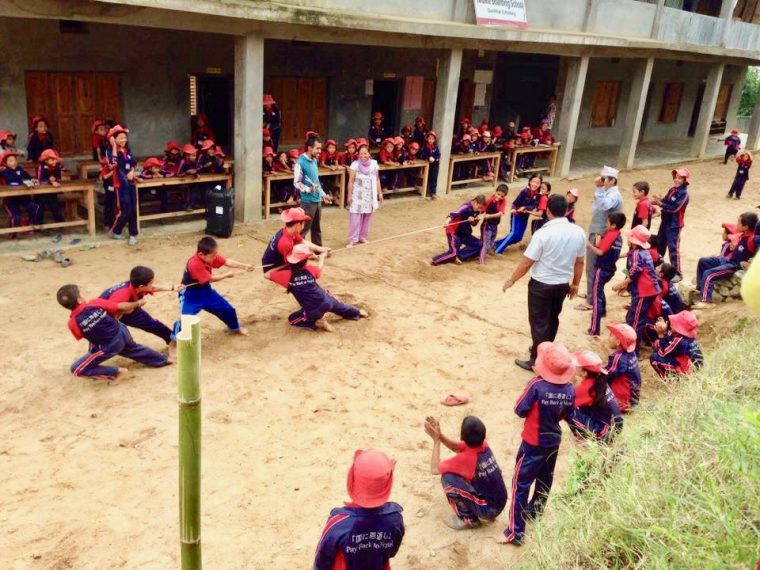 The YouMe Kids doing their own strength training with a Tug of War rope sent over from Japan. A rare sight in Nepal!